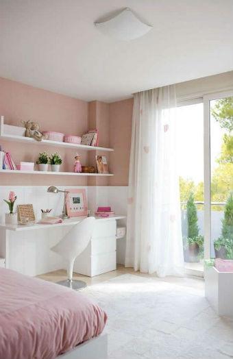 Cortinas para quarto de garota - branco com detalhes rosa