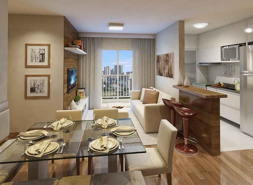 Móveis planejados: sala de estar com jantar e cozinha