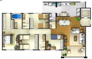Imobiliária São José dos Campos: planta de um apartamento edifício vert vita