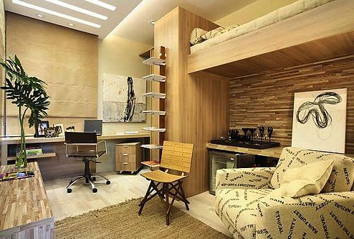 Móveis planejados: quarto com escritório