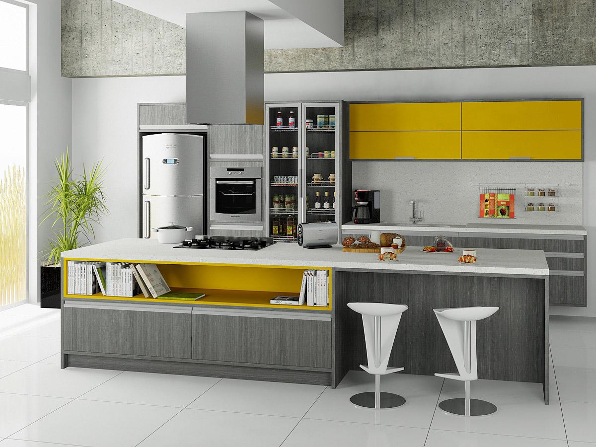 Móveis planejados: cozinha cinza e amarela
