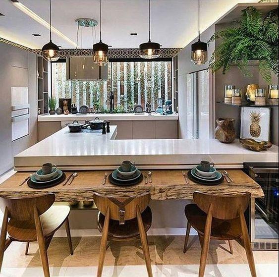 Cozinha americana: com mesa rústica