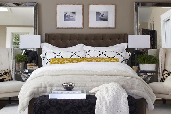 Decoração de quarto de casal: sóbrio com cores claras