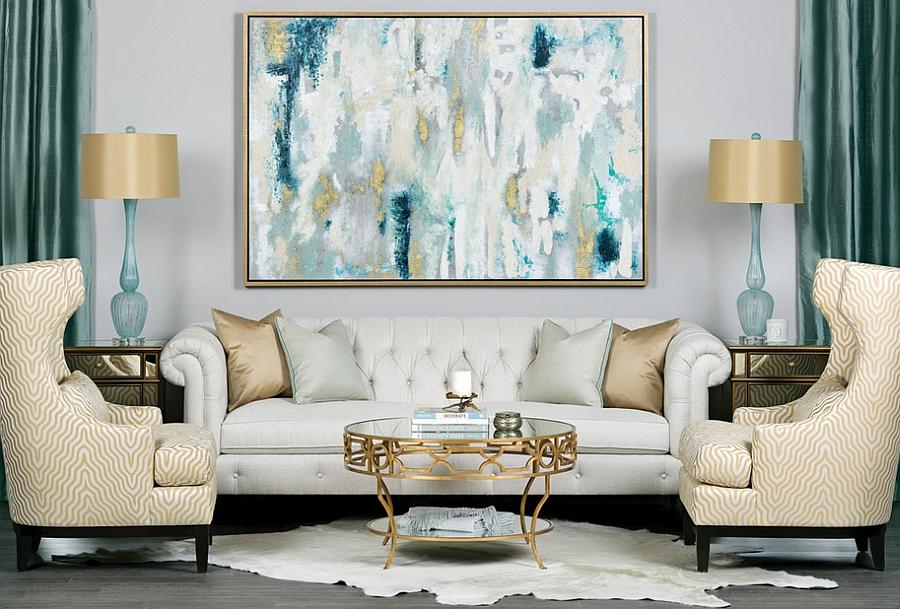Cores de tintas para sala: sala com tons de azul