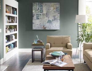 Cores de tintas para sala: pequena com uma parede cinza