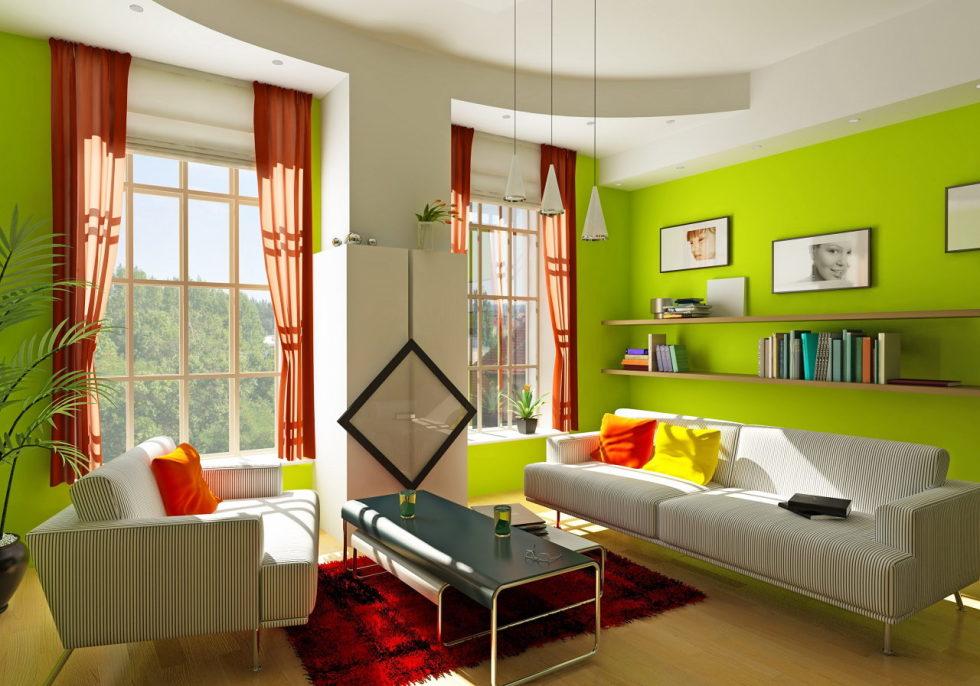 Cores de tintas para sala: verde e branco