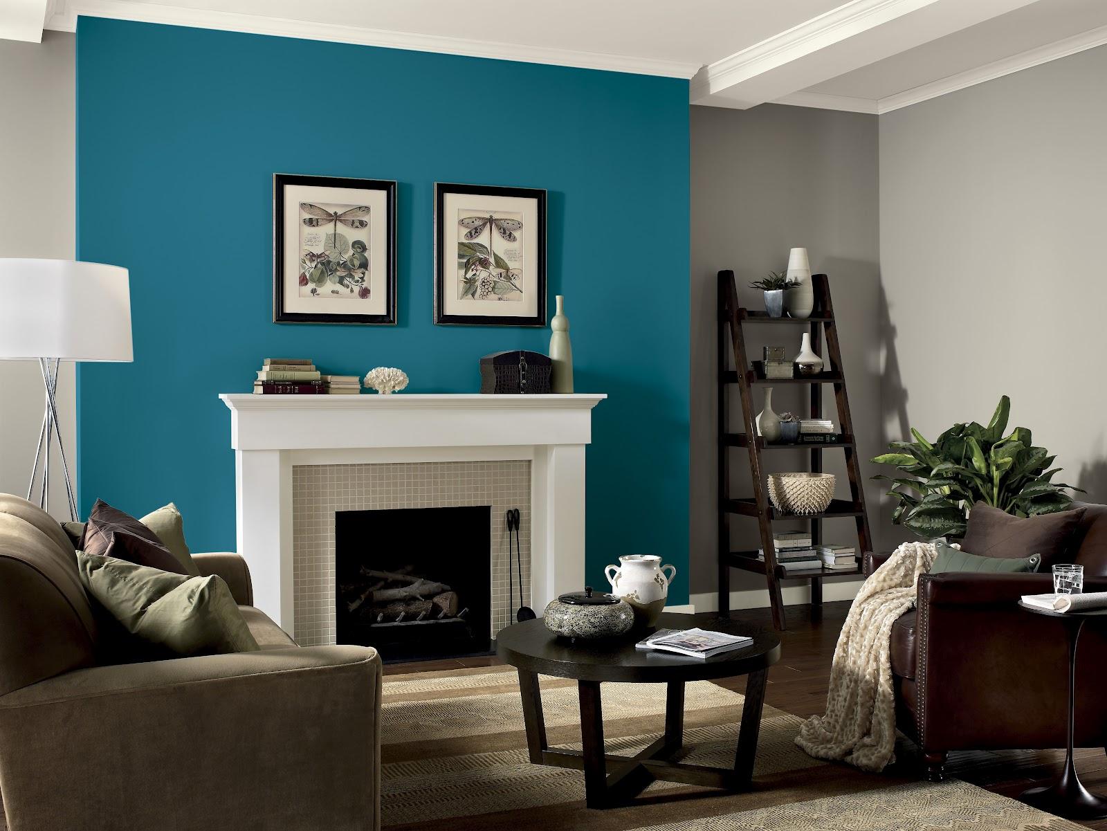 Cores de tintas para sala: azul e cinza