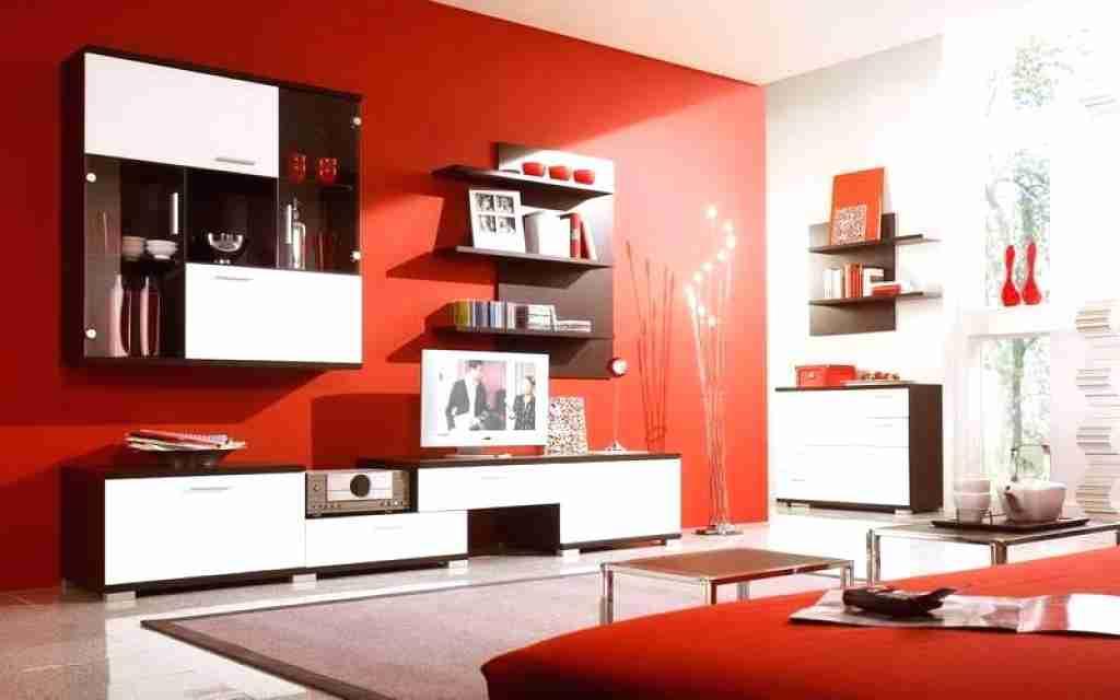Cores de tintas para sala: detalhes em vermelho