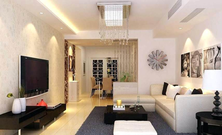 Salas decoradas: móveis brancos com TV