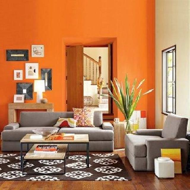 Cores de tintas para sala: uma parede abóbora