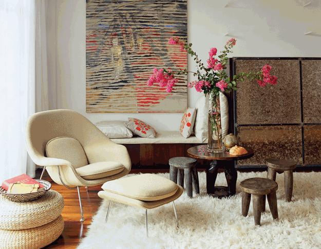 Salas decoradas: tapete branquinho
