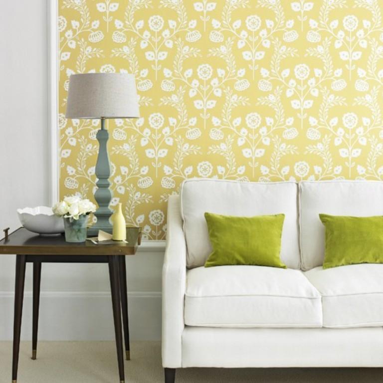 Papel de parede para sala de estar estampadinho amarelo