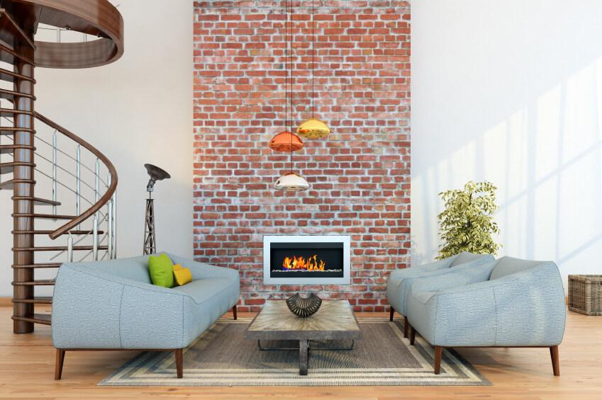 Papel de parede para sala de estar detalhe em tijolo