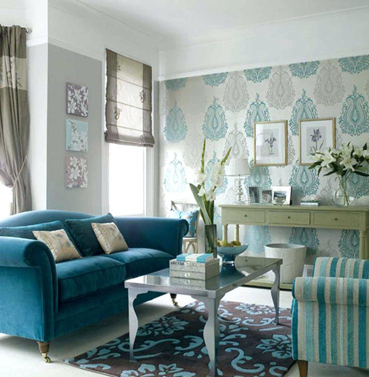 Papel de parede para sala de estar tons de azul