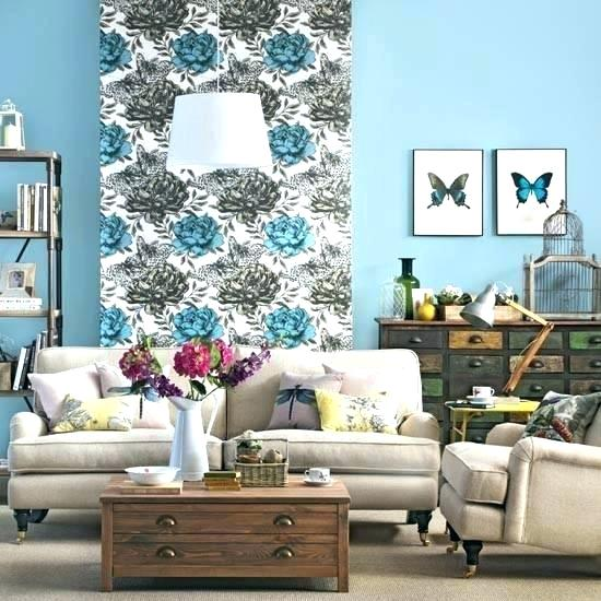 Papel de parede para sala de estar flores azuis