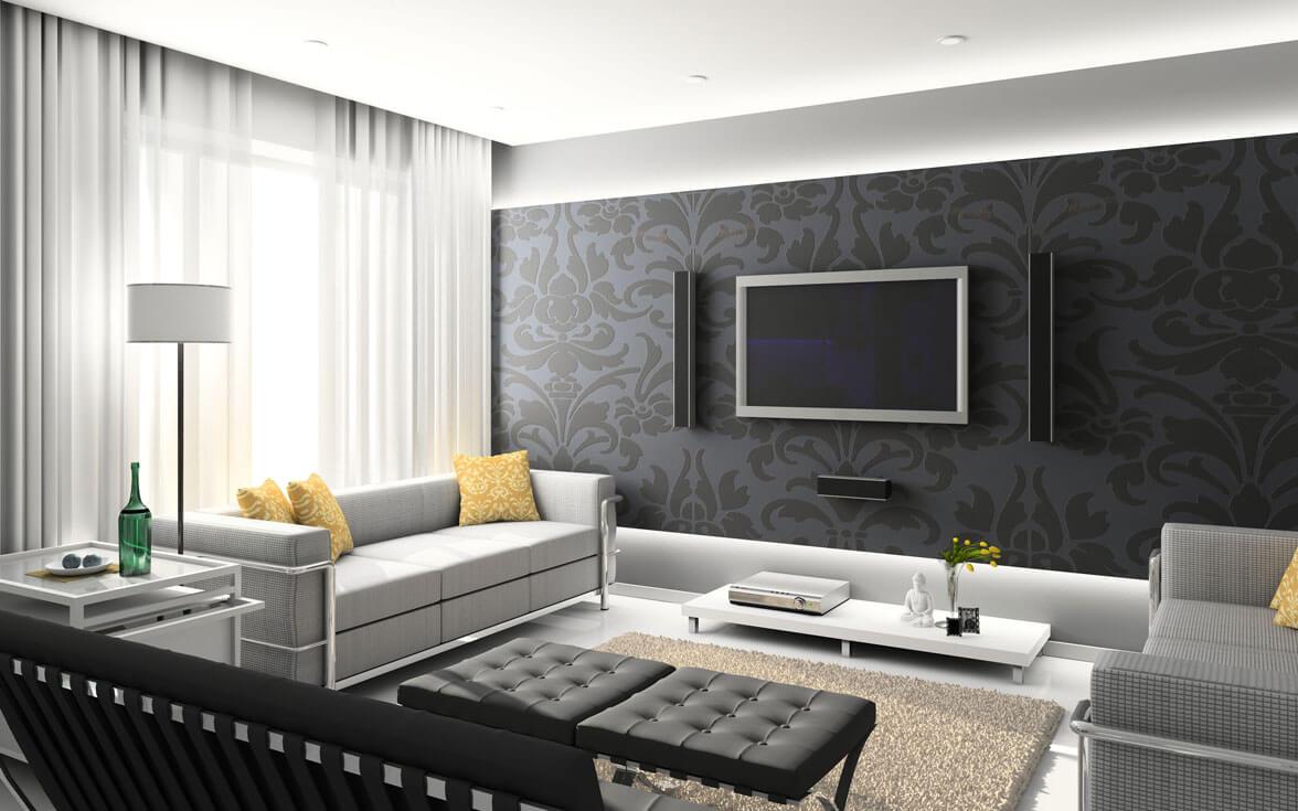 Papel de parede para sala de estar discreto