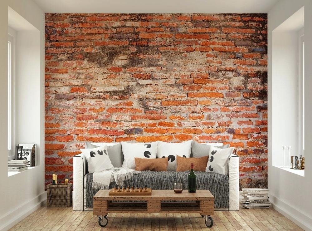 Papel de parede para sala de estar tijolinho vermelho