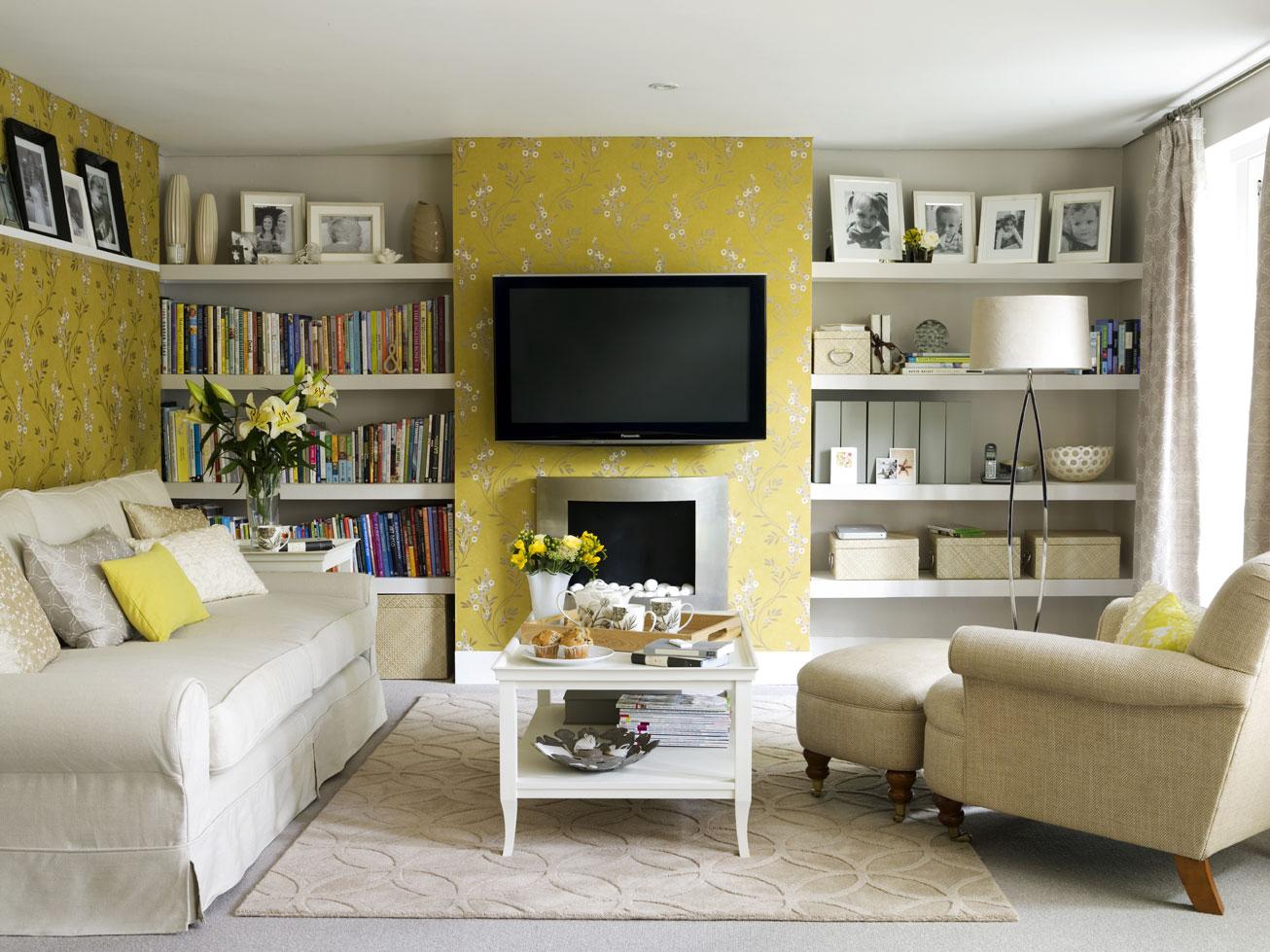 Papel de parede para sala de estar parede amarela