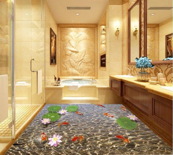 Piso para banheiro: com flores