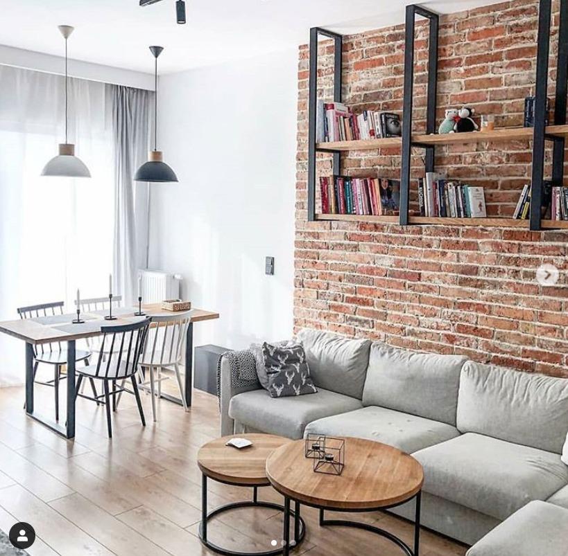 Decoração de sala: parede de tijolinho