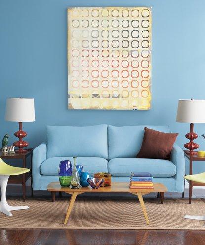 Decoração de sala: parede azul