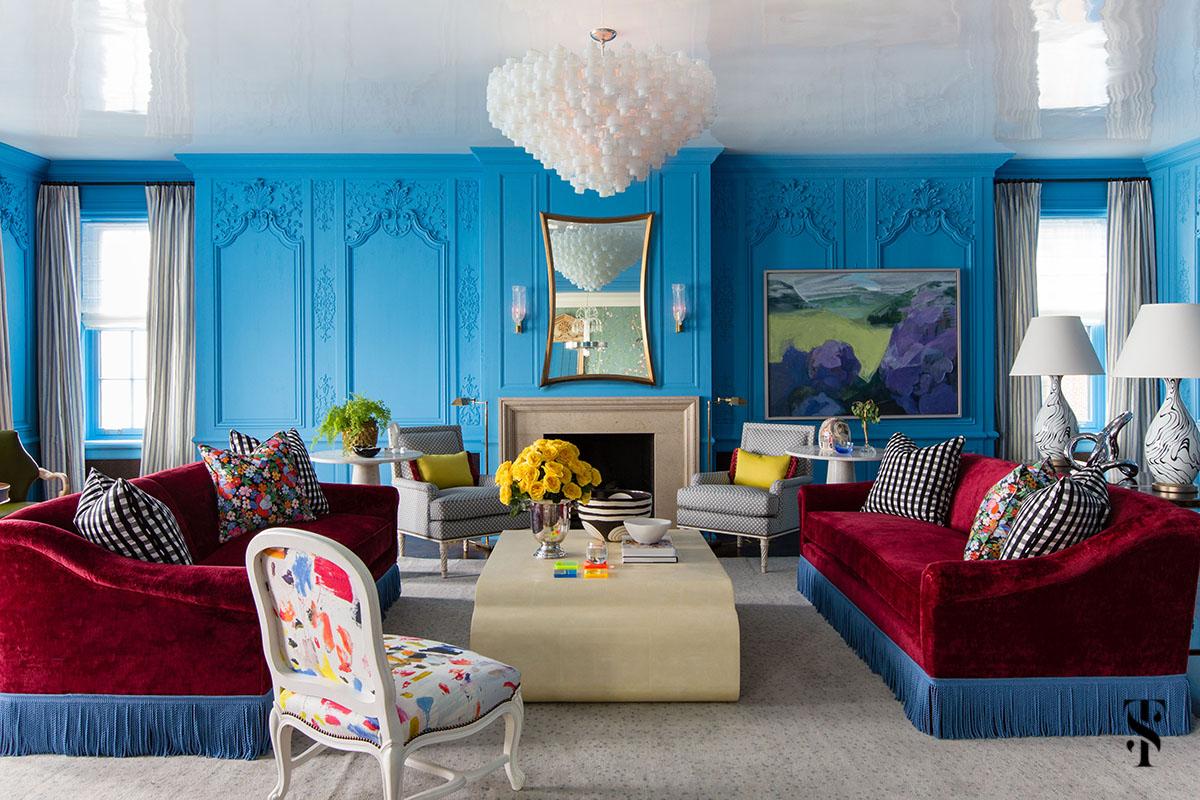 Boiserie: parede azul